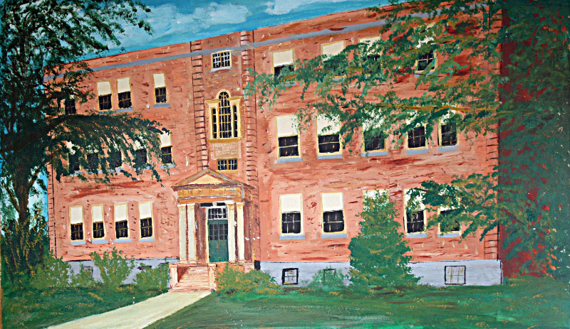 A 1974 painting of Stevens High School, Claremont, N.H.