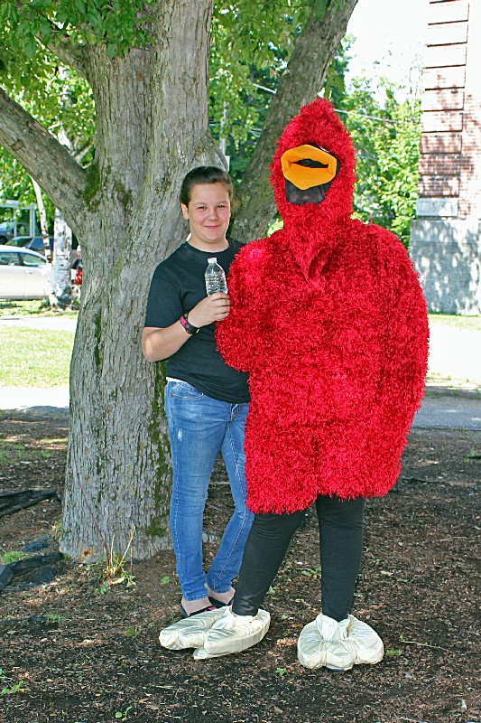 Cardinal Mascot with friend.