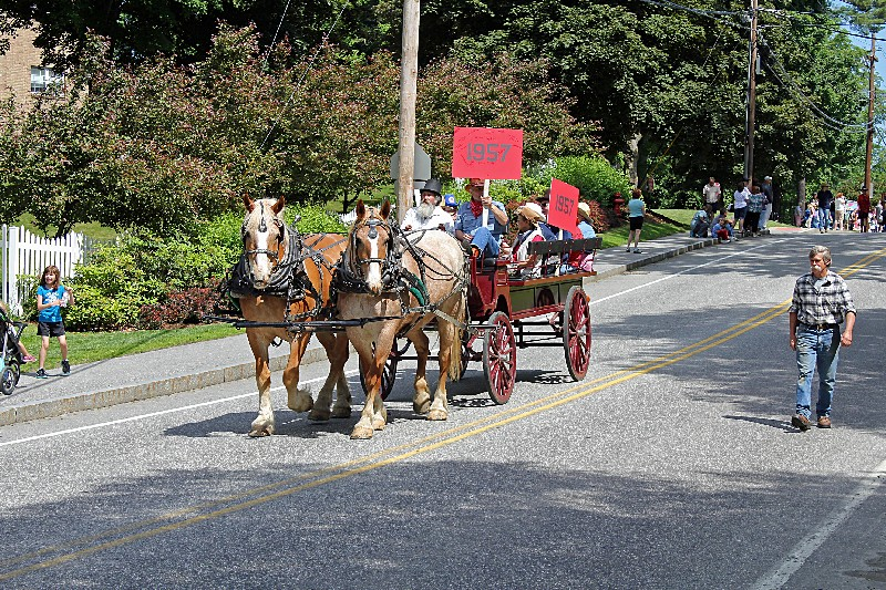 Class of 1957 (Jim Fitch's wagon with team of horses)