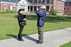 Carolyn LaBlanc, an Alumni Officer, being interviewed.