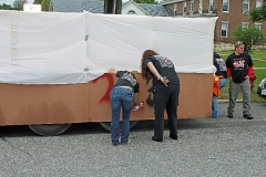 Workers working on the 2013 Float .