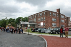 The class of 2015 in front of the new renovated Stevens High School.