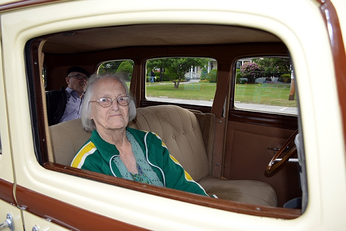At age 102, Helen Lovell is the oldest active member of the Stevens Alumni. She graduated in 1932 and rides in a 1932 Chrysler with her younger brother in the 2016 Stevens Alumni parade. (1/200 sec., F5, automatic-with flash mode, ISO 100, 18mm).Photo: Stephen C. Fitch June 11, 2016 9:39 AM