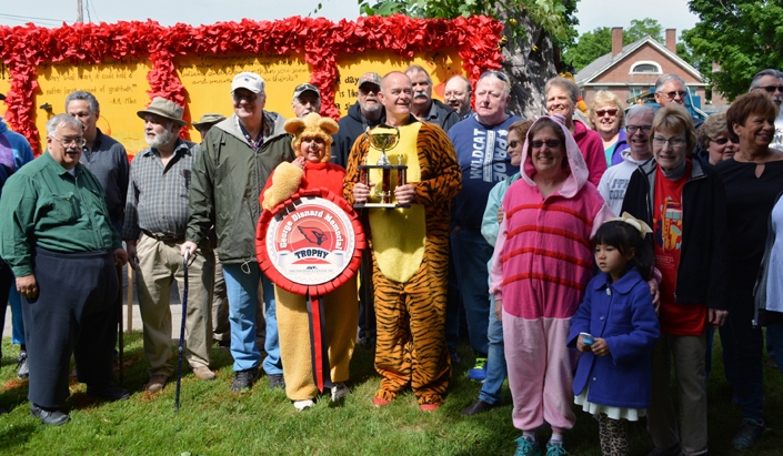 Members of the class of 1971 pose beside their Winnie the Pooh-themed float, which won the George Disnard Memorial trophy in the 2016 Stevens Alumni parade. The parade theme was Great Books. (1/250 sec., F8, automatic-with flash mode (no flash), ISO 140, 20mm).Photo: Stephen C. Fitch June 11, 2016 10:09 AM