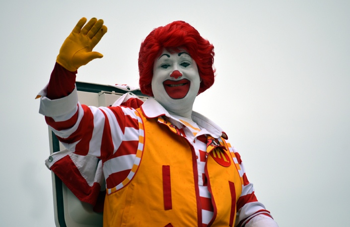 Ronald McDonald waves to spectators along Pleasant Street from his perch atop a van during the 2016 Stevens Alumni parade. (1/500sec., F5.6, automatic-no flash mode, ISO 220, 180mm).Photo: Stephen C. Fitch June 11, 2016 11:16 AM
