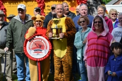 Members of the class of 1971 pose beside their Winnie the Pooh-themed float, which won the George Disnard Memorial trophy in the 2016 Stevens Alumni parade. The parade theme was Great Books. (1/250 sec., F8, automatic-with flash mode (no flash), ISO 100, 34mm).Photo: Stephen C. Fitch June 11, 2016 10:09 AM